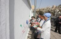 """جدارية """" المحبة والسلام العالمية """"في رأس العين"""