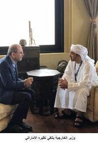 وزير الخارجية يلتقي نظيره الاماراتي