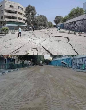 الحياة لن تتوقف بغزة.. تعبيد طرق دمرها الاحتلال